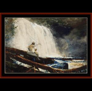 waterfall in the adirondacks - winslow homer cross stitch pattern by cross stitch collectibles