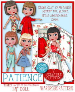 "patience doll wardrobe (tonner 14"")"