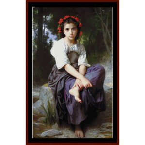 at the edge of the brook - bouguereau cross stitch pattern by cross stitch collectibles