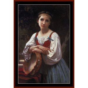 gypsy girl with basque drum - bouguereau cross stitch pattern by cross stitch collectibles
