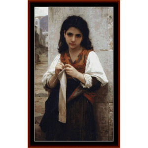 little knitter - bouguereau cross stitch pattern by cross stitch collectibles