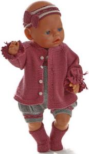 dollknittingpatterns 0191d ane - jakke, romper, hårbånd og sokker-(norsk)