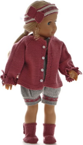 dollknittingpattern 0191d ane - jacket, romper, hairband and shoes-(english)