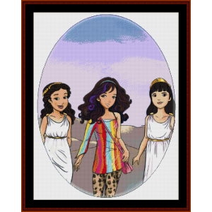 monadiki:  the goddess of fierce leadership cross stitch pattern by cross stitch collectibles