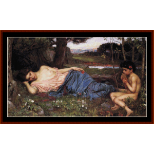 listen to my sweet pipings - waterhouse cross stitch pattern by cross stitch collectibles