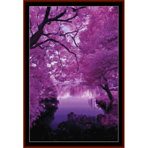 purple serentiry - nature cross stitch pattern by cross stitch collectibles