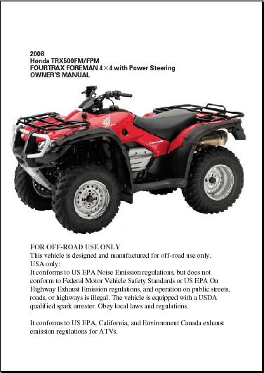 honda foreman es owners manual
