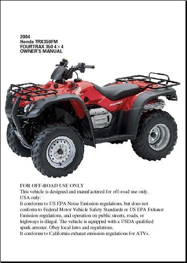 2000 Honda Rancher 350 Es Owners Manual