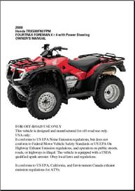 1998-2004 Honda Foreman 450 ES Owners Manual, 1998, 1999, 2000, 2001, 2002, 2003, 2004 | eBooks | Technical