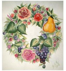 fruit & roses wreath pattern e_packet