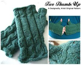 two thumbs up fingerless mitt knitting pattern