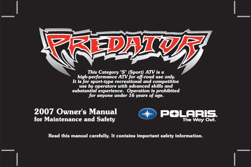 polaris atv 2006 predator 50 90 sportsman 90 repar. Black Bedroom Furniture Sets. Home Design Ideas