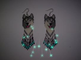 Brick Stitch Smiling Wolf Delica Seed Beading Earring Pattern | Other Files | Arts and Crafts