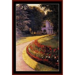 park at yerres - caillebotte cross stitch pattern by cross stitch collectibles