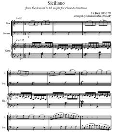 bach siciliano for flute, bassoon & harp - sheet music