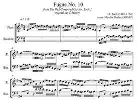 bach fugue 10 for flute & bassoon - sheet music