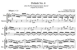 bach prelude 6 for flute & bassoon - sheet music