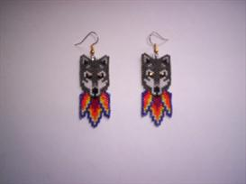 Vertical Brick Stitch Wolf Delica Seed Beading Earring Pattern | Other Files | Arts and Crafts