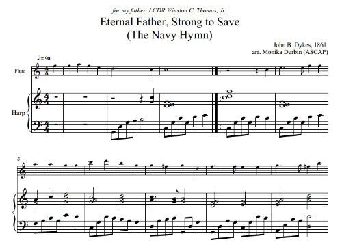 First Additional product image for - The Navy Hymn for Flute (or Alto Flute) & Harp