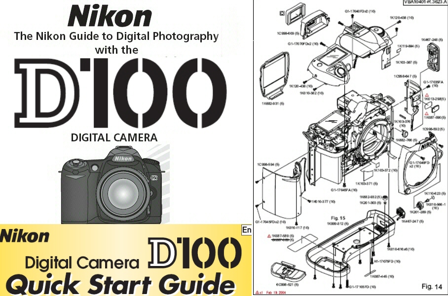 389435 nikon d100 instruction manual, quick start guide & parts diagrams