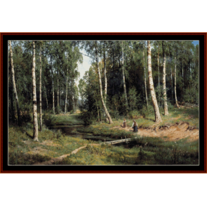 Brook in Birch Forest - Shishkin cross stitch pattern by Cross Stitch Collectibles | Crafting | Cross-Stitch | Wall Hangings
