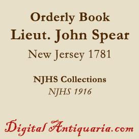 Orderly Book of Lieutenant John Spear | eBooks | History