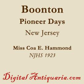pioneer days in boonton, new jersey
