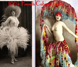 100+ french cabaret girls - vintage postcard album