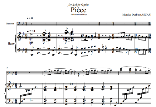 First Additional product image for - Pièce for Bassoon and Harp