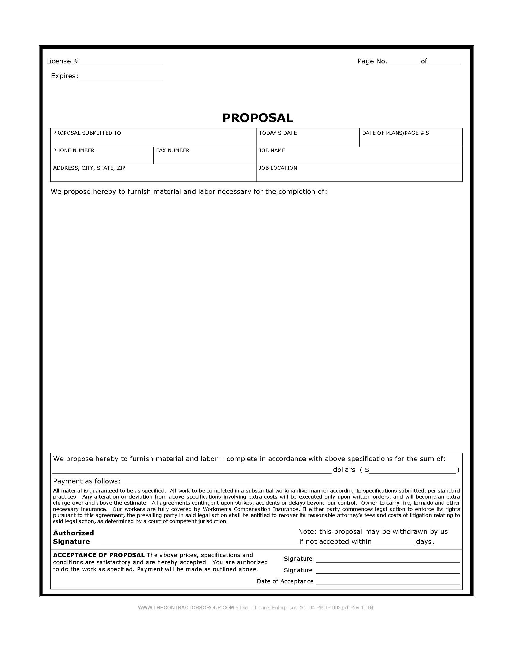 Construction Proposal Form Bid Form Estimate Form Style 2 – Proposal Form