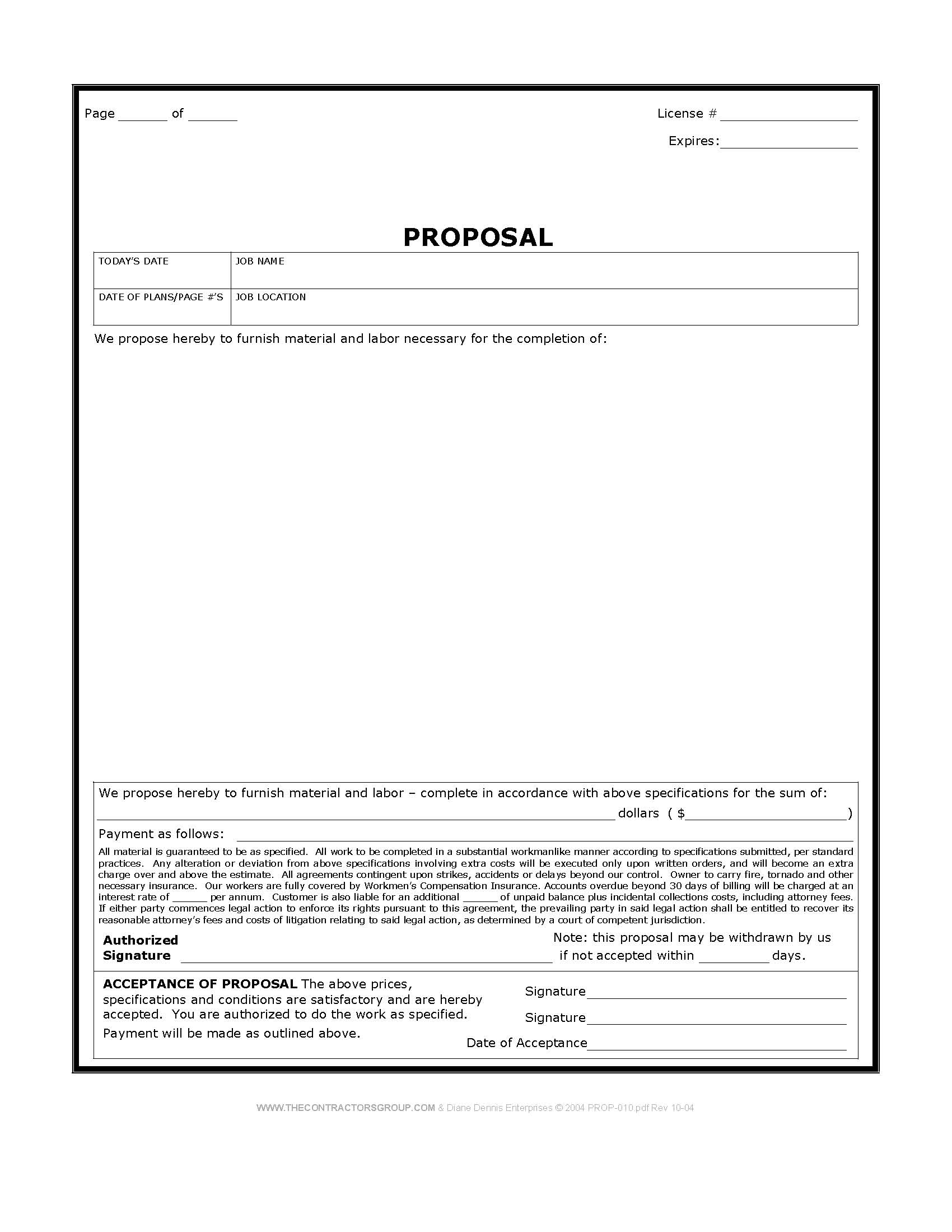 Construction Proposal Form Bid Form Estimate Form
