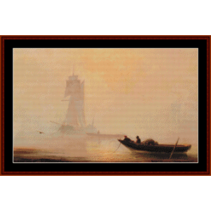 Fishing Boats in a Harbor cross stitch pattern by Cross Stitch Collectibles | Crafting | Cross-Stitch | Wall Hangings