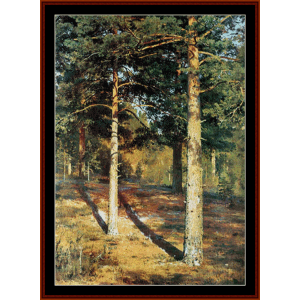 Sunlit Pines - Shishkin cross stitch pattern by Cross Stitch Collectibles | Crafting | Cross-Stitch | Wall Hangings