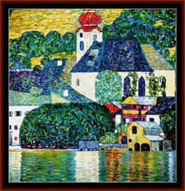 Kirche in Unterach - Klimt cross stitch pattern by Cross Stitch Collectibles | Crafting | Cross-Stitch | Wall Hangings