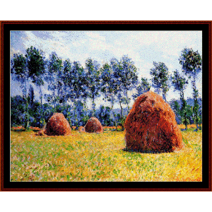 Haystacks at Giverny - Monet cross stitch pattern by Cross Stitch Collectibles | Crafting | Cross-Stitch | Wall Hangings