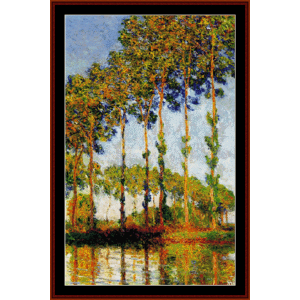 Poplars in Autumn - Monet cross stitch pattern by Cross Stitch Collectibles | Crafting | Cross-Stitch | Wall Hangings