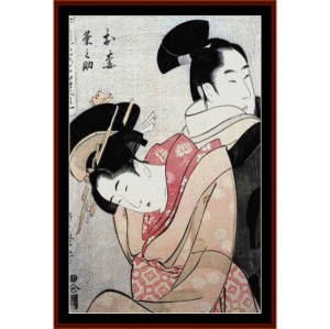oume and kumenosuke - asian art cross stitch pattern by cross stitch collectibles