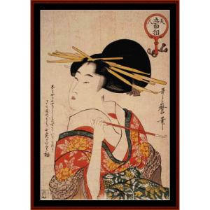 Woman with Pipe - Asian Art cross stitch pattern by Cross Stitch Collectibles | Crafting | Cross-Stitch | Wall Hangings