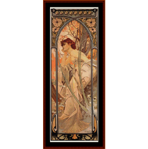 evening reverie - mucha cross stitch pattern by cross stitch collectibles