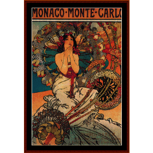 Monaco - Monte Carlo 1897 - Mucha cross stitch pattern by Cross Stitch Collectibles | Crafting | Cross-Stitch | Wall Hangings