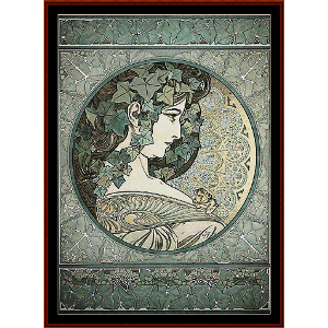 Ivy - Mucha cross stitch pattern by Cross Stitch Collectibles | Crafting | Cross-Stitch | Wall Hangings