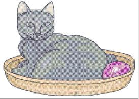 cat in a basket cross stitch pattern
