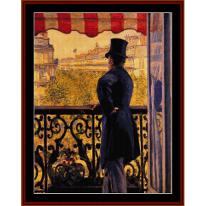 Man on Balcony - Caillebotte cross stitch pattern by Cross Stitch Collectibles | Crafting | Cross-Stitch | Wall Hangings