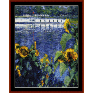 Sunflowers on the Seine - Caillebotte cross stitch pattern by Cross Stitch Collectibles | Crafting | Cross-Stitch | Wall Hangings