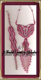 Fuschia Flames Bracelet and Necklace   eBooks   Arts and Crafts