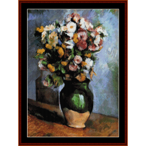 Flowers in Olive Jar - Cezanne cross stitch pattern by Cross Stitch Collectibles | Crafting | Cross-Stitch | Wall Hangings