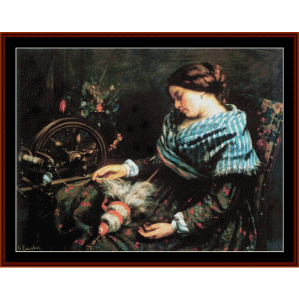The Sleeping Spinner - Courbet cross stitch pattern by Cross Stitch Collectibles | Crafting | Cross-Stitch | Wall Hangings