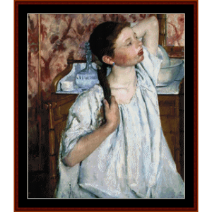 girl arranging hair - cassatt cross stitch pattern by cross stitch collectibles