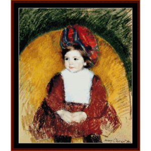 Margot in Somber Red - Cassatt cross stitch pattern by Cross Stitch Collectibles | Crafting | Cross-Stitch | Wall Hangings