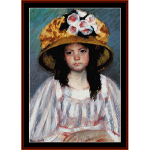Fillete Au Grand Chapeau - Cassatt cross stitch pattern by Cross Stitch Collectibles | Crafting | Cross-Stitch | Wall Hangings